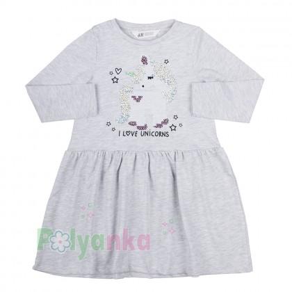 H&M Платье детское серое с единорогом в пайетках - Картинка 1