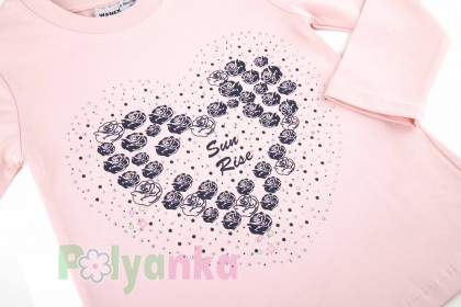 "Wanex Комплект детский ""Sun rise"" темно-синяя юбка и розовый лонгслив с розочками - Картинка 4"
