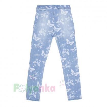 H&M Леггинсы для девочки голубые с бабочками - Картинка 1