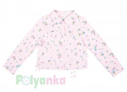 H&M Джинсовая куртка для девочки розовая в цветочек - Картинка 1