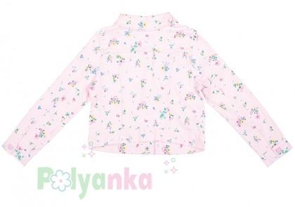 H&M Джинсовая куртка для девочки розовая в цветочек - Картинка 2