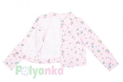 H&M Джинсовая куртка для девочки розовая в цветочек - Картинка 3