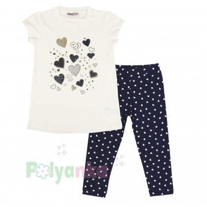 Wanex Комплект детский синие леггинсы и белая футболка - Картинка 1