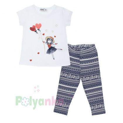 Wanex Комплект футболка с девочкой  с шариками и капри - Картинка 1