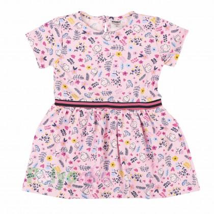 Wanex Платье летнее детское розовое с мелким рисунком - Картинка 1