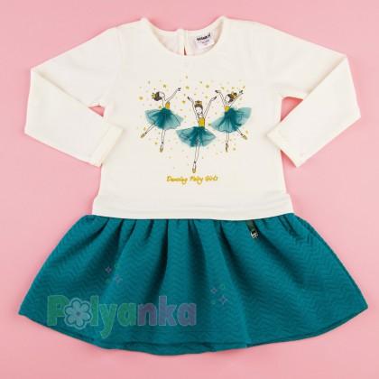 Wanex Платье детское с длинным рукавом бело-бирюзовое с балеринами - Картинка 1