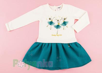 Wanex Платье детское с длинным рукавом бело-бирюзовое с балеринами - Картинка 2