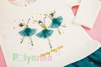 Wanex Платье детское с длинным рукавом бело-бирюзовое с балеринами - Картинка 3