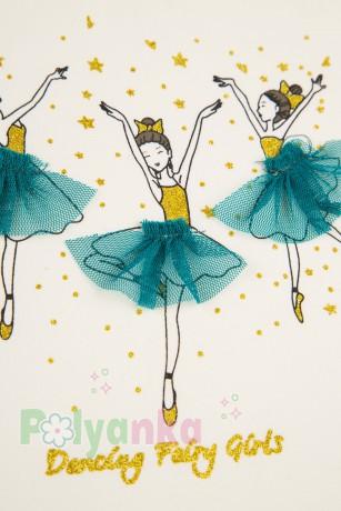 Wanex Платье детское с длинным рукавом бело-бирюзовое с балеринами - Картинка 5