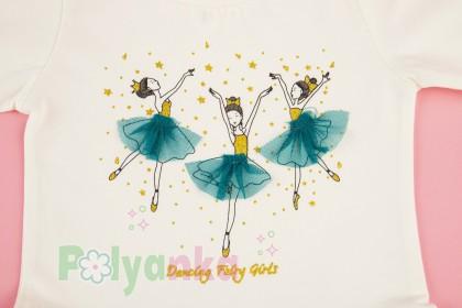 Wanex Платье детское с длинным рукавом бело-бирюзовое с балеринами - Картинка 6