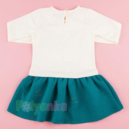 Wanex Платье детское с длинным рукавом бело-бирюзовое с балеринами - Картинка 7