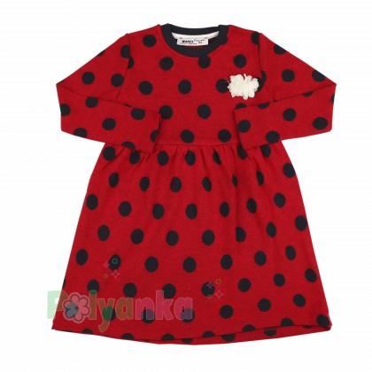 Wanex Платье детское с длинным рукавом красное в чёрный горох - Картинка 1