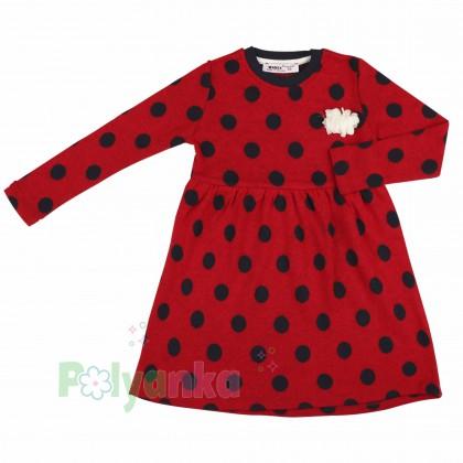 Wanex Платье детское с длинным рукавом красное в чёрный горох - Картинка 2