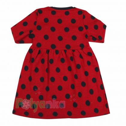 Wanex Платье детское с длинным рукавом красное в чёрный горох - Картинка 3