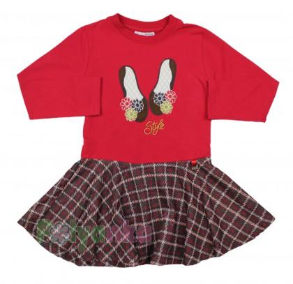 Wanex Платье детское с длинным рукавом красное юбка в клетку - Картинка 1