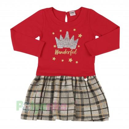 Wanex Платье детское с длинным рукавом красное юбка коричневая в клетку - Картинка 1