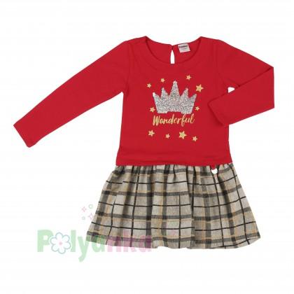 Wanex Платье детское с длинным рукавом красное юбка коричневая в клетку - Картинка 2