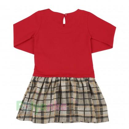 Wanex Платье детское с длинным рукавом красное юбка коричневая в клетку - Картинка 3