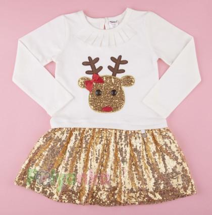 Wanex Платье детское с длинным рукавом новогоднее с оленем бело-золотое и фатиновой юбкой - Картинка 1