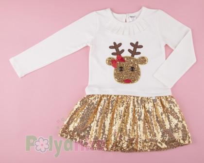 Wanex Платье детское с длинным рукавом новогоднее с оленем бело-золотое и фатиновой юбкой - Картинка 2