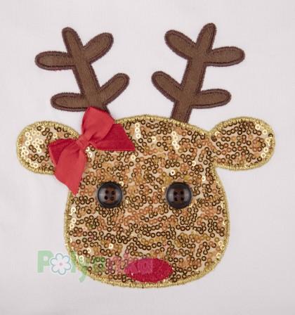 Wanex Платье детское с длинным рукавом новогоднее с оленем бело-золотое и фатиновой юбкой - Картинка 3