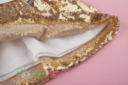 Wanex Платье детское с длинным рукавом новогоднее с оленем бело-золотое и фатиновой юбкой - Картинка 5