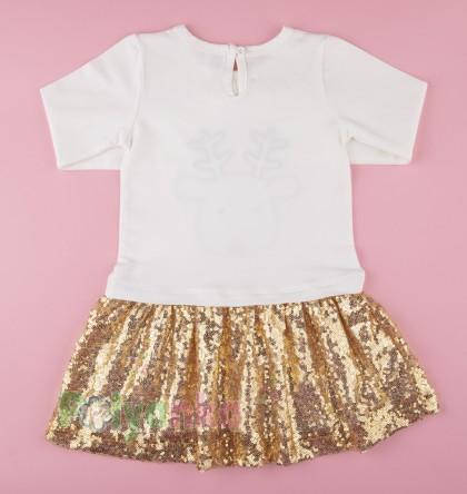 Wanex Платье детское с длинным рукавом новогоднее с оленем бело-золотое и фатиновой юбкой - Картинка 6