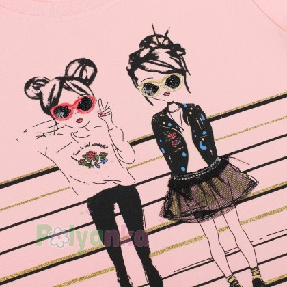 Wanex Костюм для девочки туника с девочками и черные леггинсы - Картинка 6