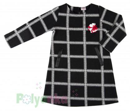 Wanex Платье детское с длинным рукавом теплое в клетку чёрно-белое - Картинка 2