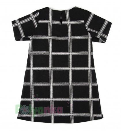 Wanex Платье детское с длинным рукавом теплое в клетку чёрно-белое - Картинка 5