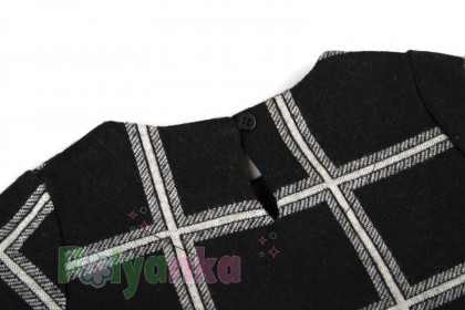 Wanex Платье детское с длинным рукавом теплое в клетку чёрно-белое - Картинка 6