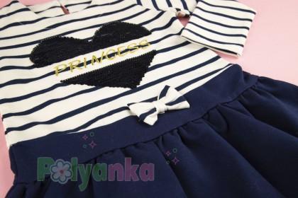 Wanex Платья детское с длинным рукавом бело-синее в полоску - Картинка 4