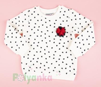 Wanex Свитшот детский белый с черными сердечками - Картинка 1