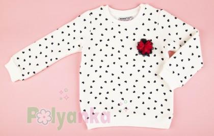Wanex Свитшот детский белый с черными сердечками - Картинка 2