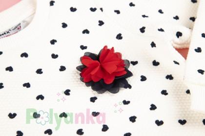 Wanex Свитшот детский белый с черными сердечками - Картинка 3