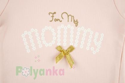 "Wanex Свитшот детский нежно розовый ""I love mommy"" с бантиком - Картинка 4"