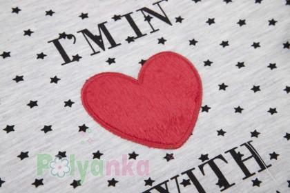 Wanex Свитшот детский серый в горох с сердечком - Картинка 4