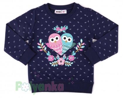 Wanex Свитшот детский синий и совами - Картинка 1