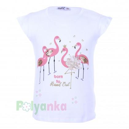 Wanex Футболка детская белая с фламинго - Картинка 1