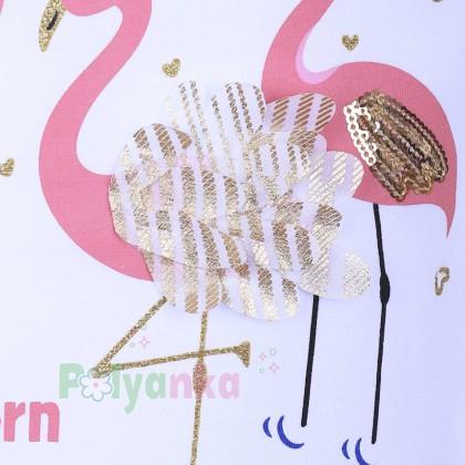 Wanex Футболка детская белая с фламинго - Картинка 2