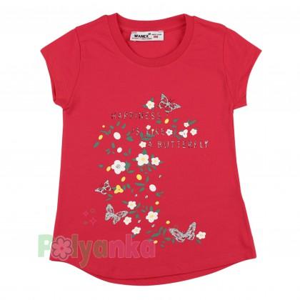 Wanex Футболка детская малиновая с цветами - Картинка 1