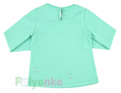 Wanex Футболка с длинным рукавом для девочки мятная со звездой - Картинка 3