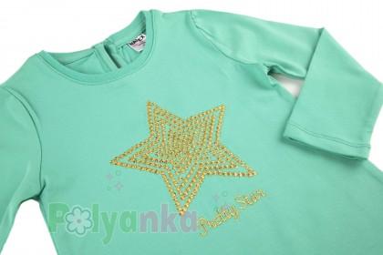 Wanex Футболка с длинным рукавом для девочки мятная со звездой - Картинка 4