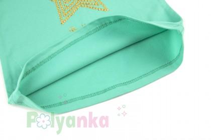 Wanex Футболка с длинным рукавом для девочки мятная со звездой - Картинка 5