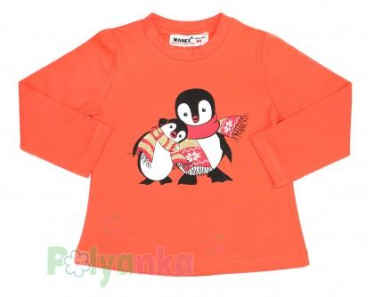 Wanex Футболка детская с длинный рукавом оранжевый с пингвинами - Картинка 1
