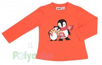 Wanex Футболка детская с длинный рукавом оранжевый с пингвинами - Картинка 2