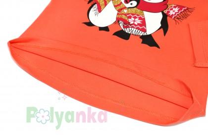 Wanex Футболка детская с длинный рукавом оранжевый с пингвинами - Картинка 3