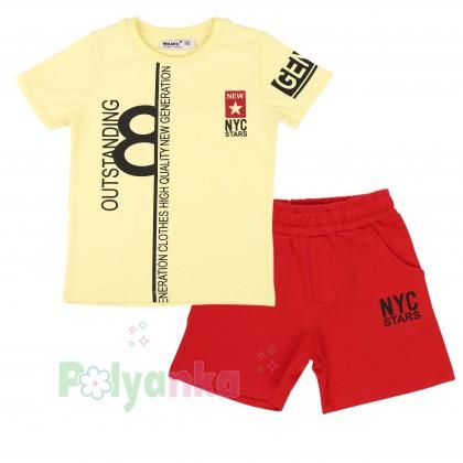 Wanex Комплект детский желтая футболка и красные шорты с карманами - Картинка 1