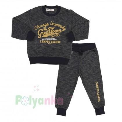 Wanex Спортивный костюм детский черный свитшот и спортивные штаны - Картинка 1