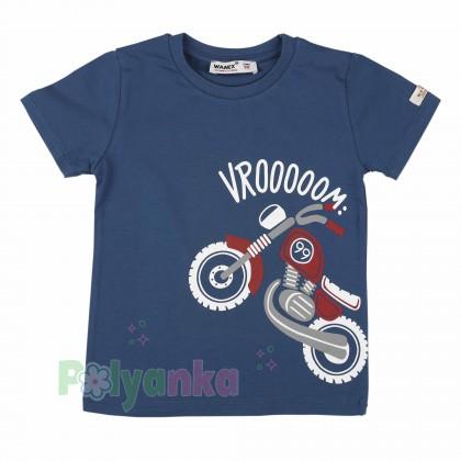 """Wanex Футболка детская синяя с мотоциклом """"Wroоom"""" - Картинка 1"""